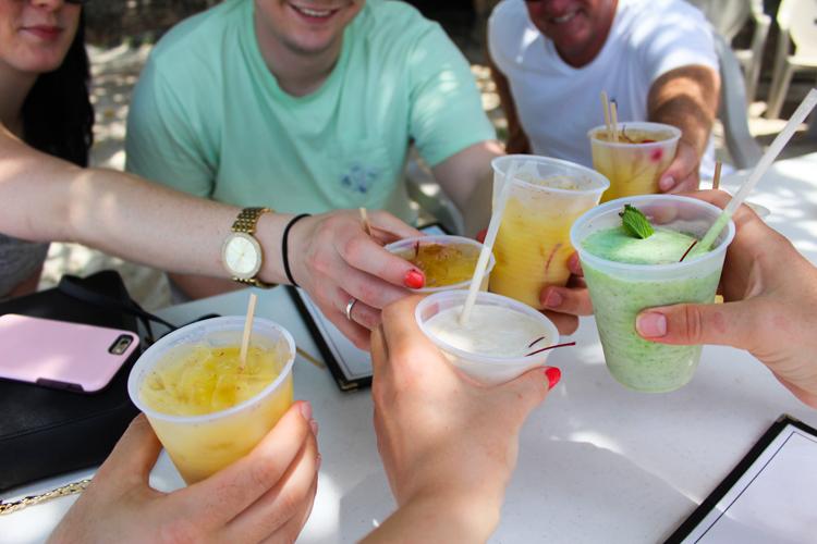 drinks at Beach Bar, St. John, USVI