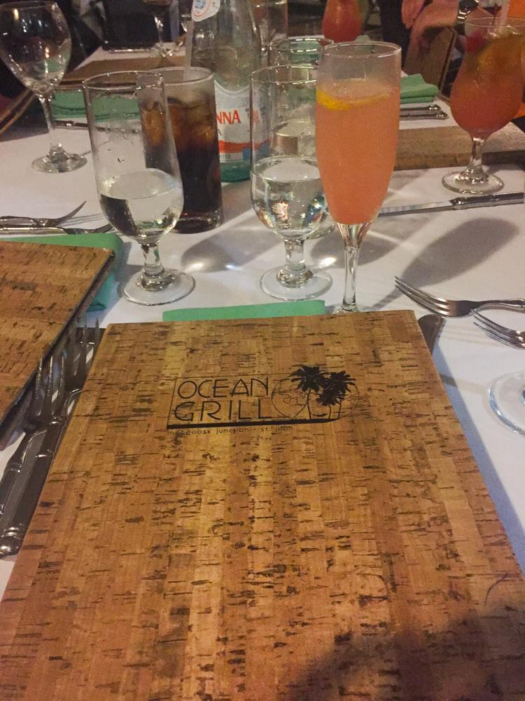 dinner at Ocean Grill, St. John USVI