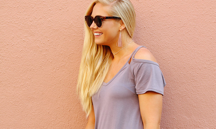 The perfect cold shoulder t shirt dress to wear all spring and summer