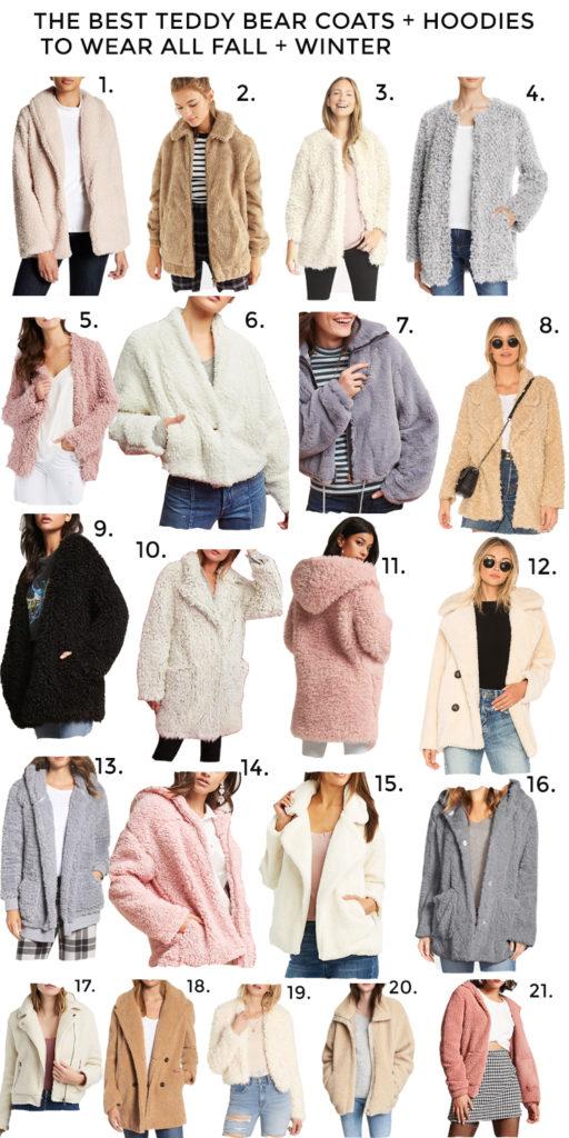 best teddy bear coats + teddy bear hoodies for fall and winter