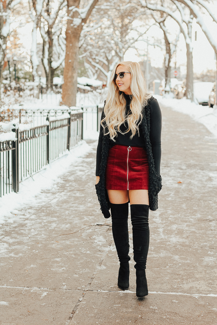 winter going-out outfit + over the knee boots