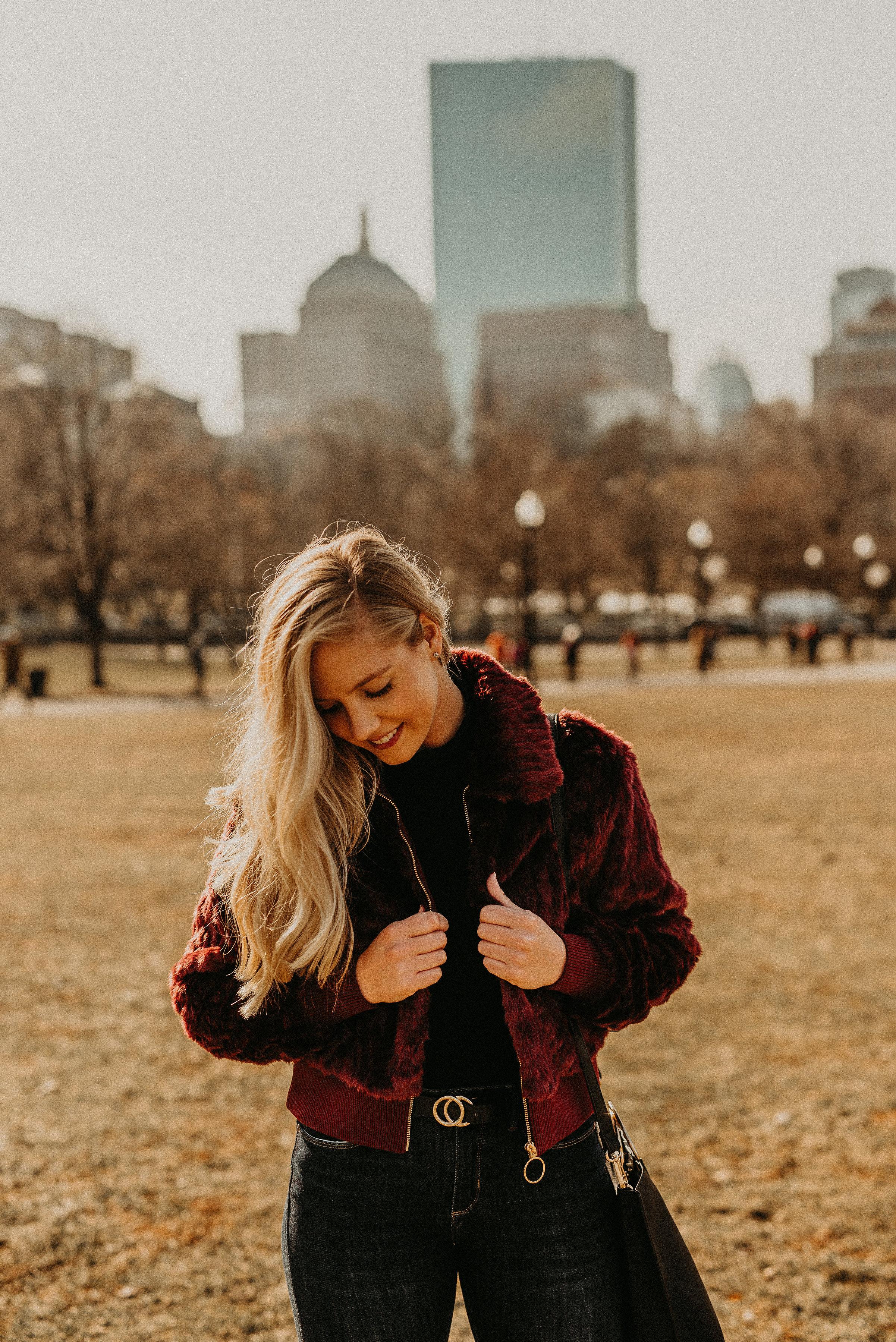 faux fur jacket in Boston Public Garden